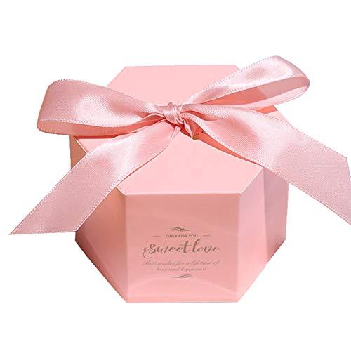 Lumanuby. 10x Sechseck Süße Geschenkboxen Papier mit Ribbon für Süßigkeiten Bonbons oder Schokolade Candy-Boxen für Hochzeit Verlobung Baby-Duschen, Geburtstags Party Size 7x7x5.5cm (Rosa)