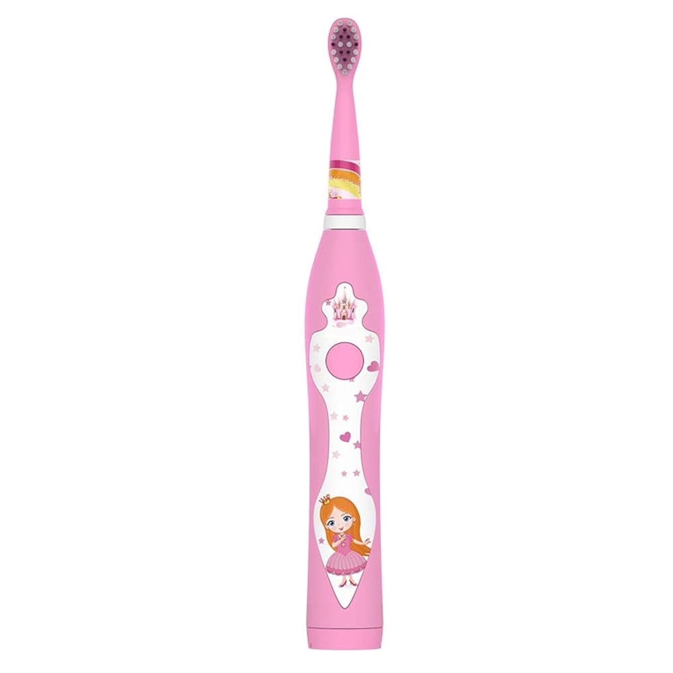 パン屋田舎者バンケット子供の電動歯ブラシかわいいUSB充電式歯ブラシホルダーと2つの交換用ヘッド (色 : ピンク, サイズ : Free size)