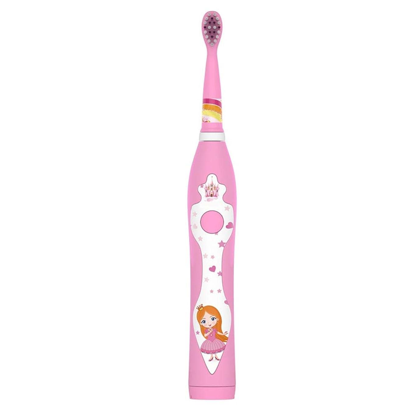 後ろに経度士気子供の電動歯ブラシかわいいUSB充電式歯ブラシホルダーと2つの交換用ヘッド 完全な口腔ケアのために (色 : ピンク, サイズ : Free size)