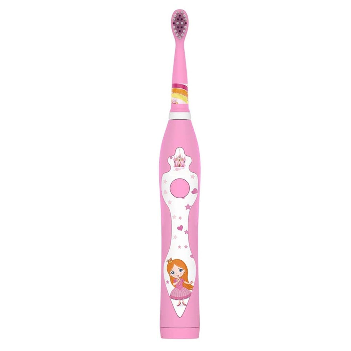 非武装化地質学トリクル自動歯ブラシ 子供のための2つの取り替えの頭部およびホールダーが付いている子供のかわいいUSBの再充電可能な電動歯ブラシ (色 : ピンク, サイズ : Free size)