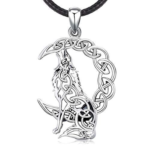Odinstone - Collar de plata de ley S925 para hombre, lobo horrible sobre la luna con colgante de...