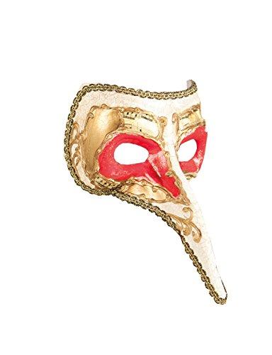 Boland 00282, Máscara de estilo veneciano con nariz, talla única, color Dorado/Rojo