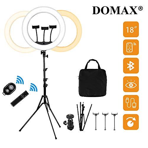 DOMAX Ringlicht mit Stativ - 18 Zoll Ringleuchte mit 1.9M Stativ, 55W 2900K-6500K LED Lampe, Remote Licht- und Selife Kontrolle, 3X Halterung mit 2X USB Ladestecke für TikTok Instagram YouTube