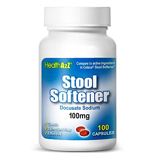 HealthA2Z® Stool Softener, Docusate Sodium 100mg, Compare to Colace® Stool Softener Active Ingredient, 100 Capsules…