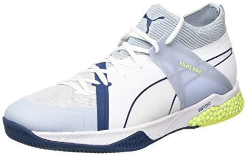 Puma Unisex-Erwachsene Explode XT Hybrid 1 Futsalschuhe, White Grey Dawn-Safety Yellow-Gibraltar Sea 01, 47 EU