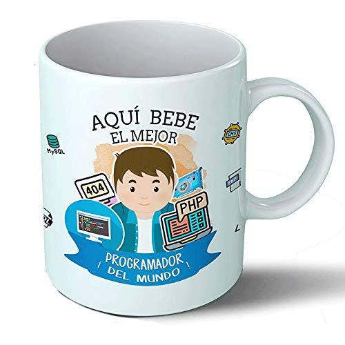 Planetacase Taza Desayuno Aquí Bebe el Mejor Programador Regalo Original Ceramica 330 mL