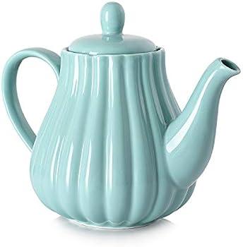 Dowan 30 Ounce Pumpkin Fluted Shape Ceramic Teapot