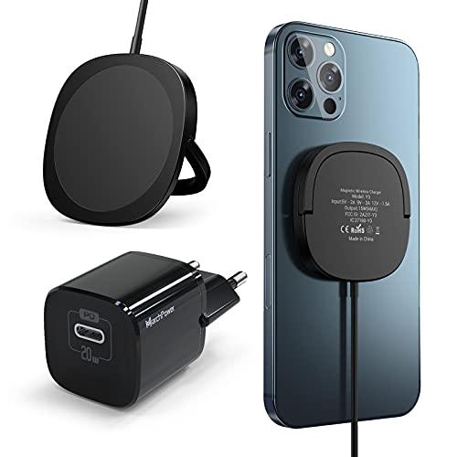 Marchpower Cargador Inalámbrico Magnético, PD 20W Cargador Rápido USB C + Cable Compatible con iPhone 12/12 Mini/12 Pro/12 Pro MAX/Airpods Pro y Más-Negro