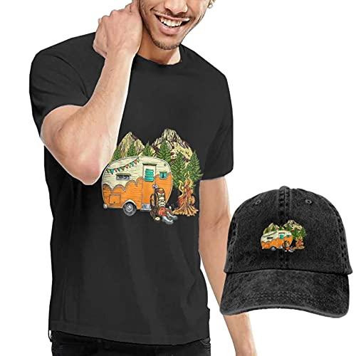 mengmeng Camiseta casual de manga corta para hombre y gorras de béisbol, camiseta negra I was Social Distancing Before It was Cool 8 camisetas con gorra de béisbol para hombres