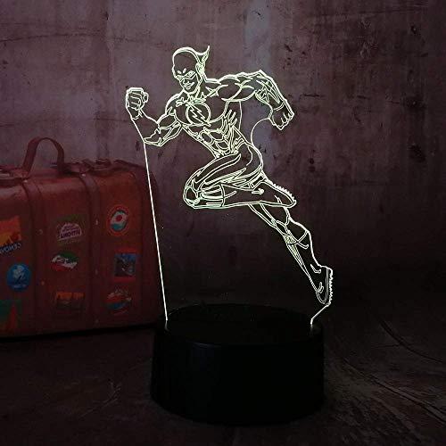 Sport boy Lámpara de ilusión 3D para niños, niñas, regalo, luz de noche 3D para dormitorio al lado de la mesa, lámpara de mesa de escritorio con 16 colores cambiantes, regalo para niños