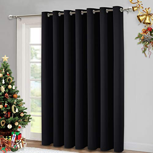 NICETOWN Patio Door Slider Curtains - Sliding Panel Curtains, Door Blinds, Block Out Drapes, Outside Curtain for Patio & Hall Room (Black, W100 x L84)