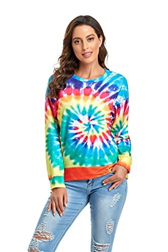 Sylanfia Sweat Shirt à Manches Longues pour Femmes Tie Dye Tops Camiseta Amplia Pull à la Mode Pull à Col Rond