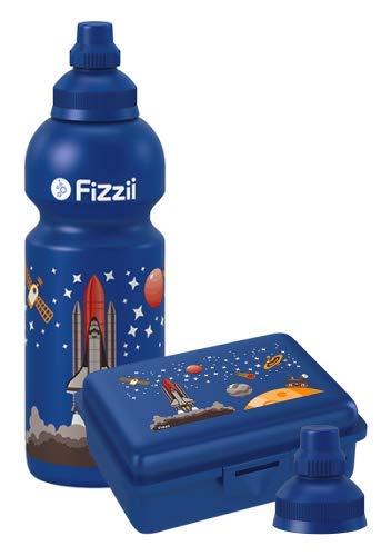 Fizzii Set Trinkflasche 600ml + Lunchbox inkl. Obst-/ Gemüsefach (schadstofffrei, spülmaschinenfest, Motiv: Weltraum)