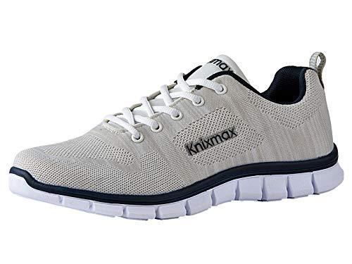 Knixmax Herren Damen Laufschuhe Sneaker Leicht Bequem Atmungsaktiv Sportschuhe Turnschuhe Outdoor Fitnessschuhe Knit Weiß Herren Gr.41 EU