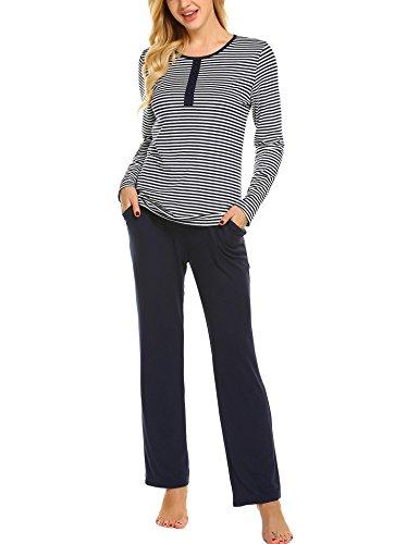 Ekouaer Womens Pajama Set Striped Long Sleeve Sleepwear Soft PJ's Set Pants with Pockets