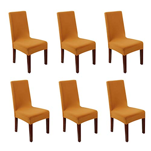 FLYPARTY 6X Universal Stretch Spandex Removable Washable Short Dining Chair Cover Protector Seat Solid Slipcovers for Hotel,Dining Room,Ceremony,Wedding etc(Gold)