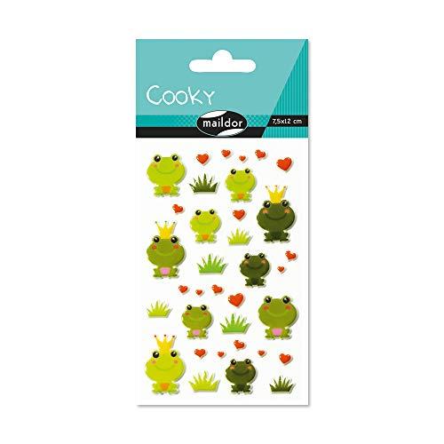Maildor CY020O Packung mit Stickers Cooky 3D (1 Bogen, 7,5 x 12 cm, ideal zum Dekorieren, Sammeln oder Verschenken, Frosch) 1 Pack