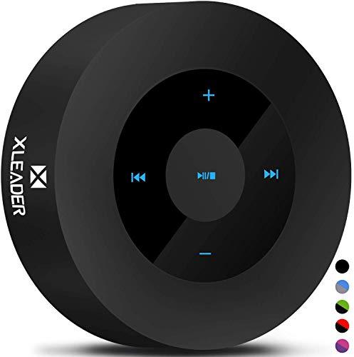 XLEADER SoundAngel (2 Gen) 5W Louder Bluetooth Speaker with Waterproof Case, 15h Music, Smart Touch Design, Perfect Portable Wireless Bluetooth Speaker for iPhone Tablet Laptop PC Shower Gift, Black