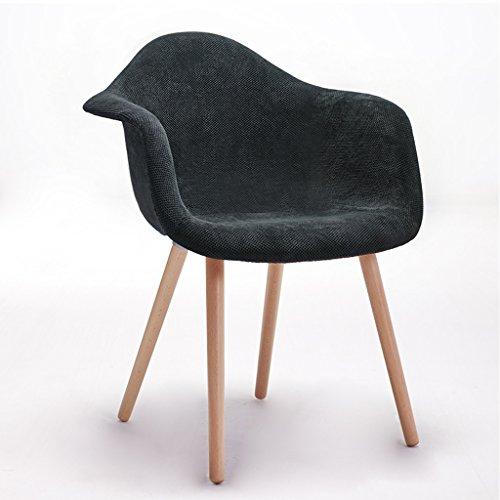 PLL Nordischer Art-Stuhl-Fester hölzerner moderner einfacher speisender Stuhl-Retro- Stuhl-Kaffee-Stuhl (Color : Black)