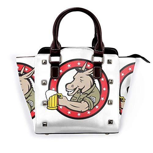 Esel Trinken Bier Muster Mode Pu, Leder Niet Umhängetasche Handtasche, Schule Arbeit Travel Gym Einkaufstasche