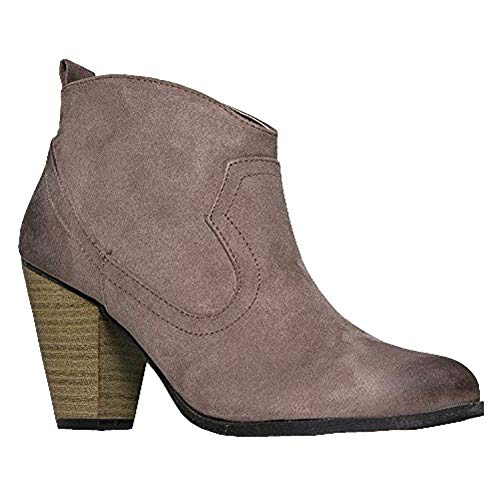 Qupid Western Slip On Stacked Heel Bootie - Distressed Ankle Pull Cowboy Women's Boot,Taupe,8