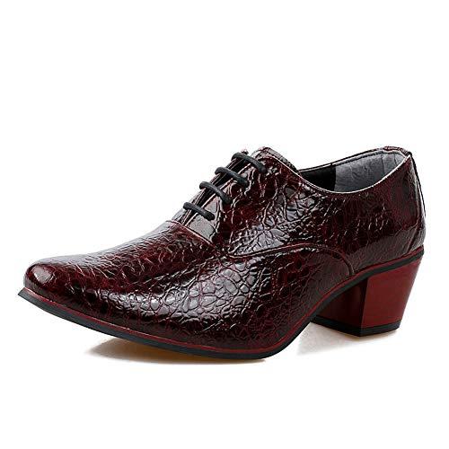 WMZQW Zapatos de Vestir para Hombres Cuero Cordones Derby Calzado Boda Negocios Brogue Cubanos Tacón Alto