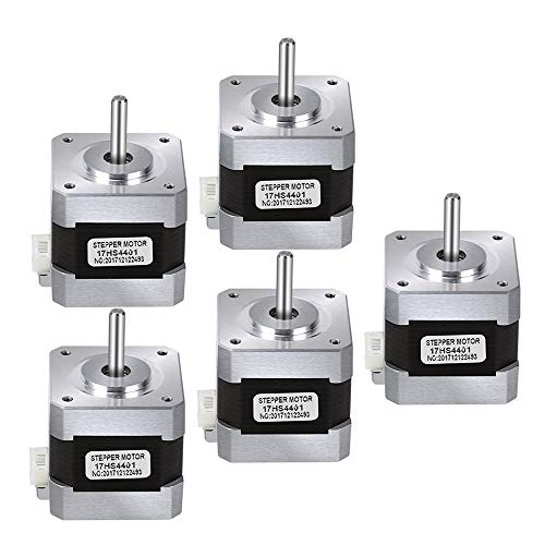 5PCS Nema 17 Motor paso a paso, TopDirect Stepper Motor 1.7A 0.4Nm (56.2oz.in) con 5pcs 4-Pin Cable para Impresora 3D CNC