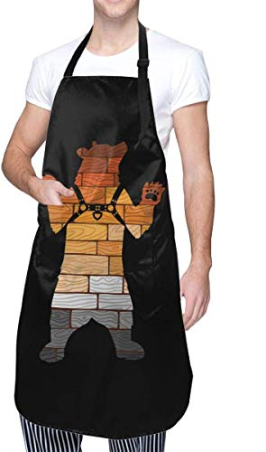 Jianxiong Gay Pride LGBT Brown Bear Theme Cooking Painting Party Working Women Men Youth Pocket Waterproof Apron Home Kitchen Decorations
