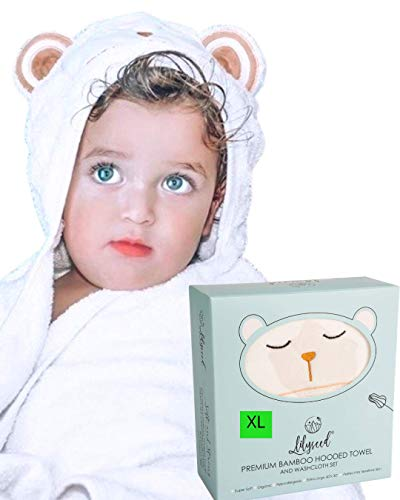 Bamboo Baby Towel - Ultra Soft Organic Baby Bath Towel Set for Newborn, Babies & Toddlers - Cute Bear Baby Hooded Towel for Baby Girl, Boys - Organic Baby Towel & Washcloth- Toddler Towel-Lilyseed