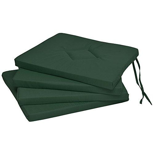 Beautissu 4er Set Stuhlkissen 40x40 cm – Indoor & Outdoor Sitzkissen Kim mit 3 cm Polsterung - Weiches Sitzkissen Stuhl oder Sitzauflage Bank Kissen Grün