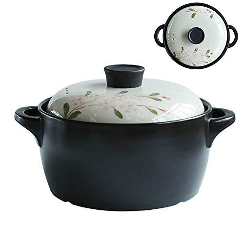 Ceramic Covered Casserole Dish with Lid,Flower Pattern Heat-Resistant Earthen Pot Korean Bibimbap Stockpot Healthy Saucepan Black 4.23quart