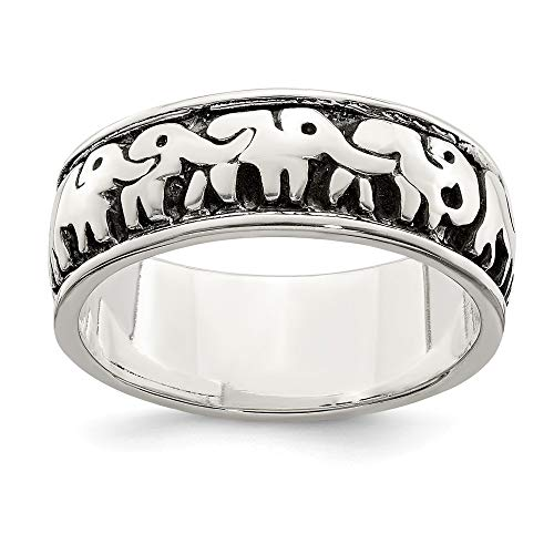 925 Sterling Silver Elephants Band Ring Size 8.00 Animal Fine Jewelry For Women Gifts For Her
