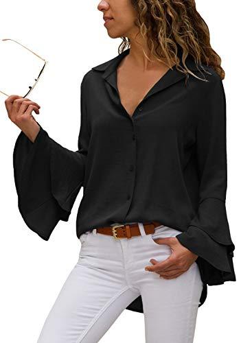 Happy Sailed Damen Trompetenärmel Elegant Causaul Chiffon Bluse Hemd Oberteil S-XXL, Schwarz, X-Large (EU48-50)
