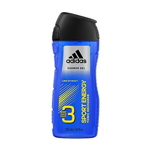 Adidas - Gel Douche Fonctionnel 3 en 1 pour Homme Sport Energy - Recharge les batteries - Shampoing - Multi-bénéfices - 250ml (Lot de 4)