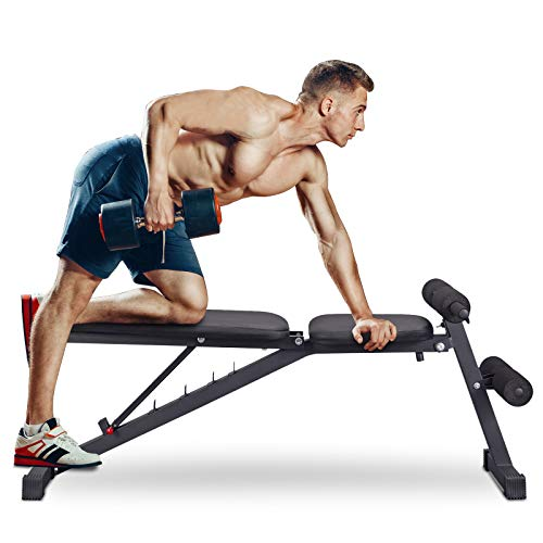 PITHAGE Weight Bench Adjustable Exercise Benches Strength Training Benches Press for Home Gym Full Body Workout Flat Incline Decline Utility Bench