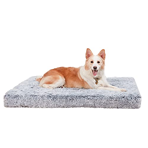 犬クッションベッド 洗える 夏 大型 小型犬/中型犬/大型犬 シニア犬介護 高反発 床ずれ防止 防水 犬をダメにするクッション ふわふわ 通年 スクエア型ゲージ用マットレス ウレタン 暖かい 柴犬 グレー Lサイズ