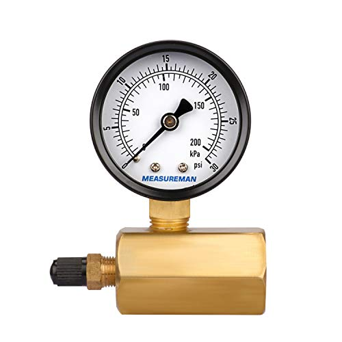 "Measureman 2"" Brass Gas Pressure Test Gauge Assembly 3/4"" FNPT Connection 0-30 psi/kpa 3-2-3% Accuracy"