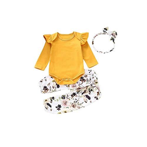 REALIKE Kinder Baby Mädchen 1 PC Jumpsuit + 1 PC Hosen + 1 PC Headbands Mode Einfarbig Rüschen Langarm-Body im Freizeit Blumendruck Lange Pants Herbst Winter Prinzessin Set Kleidung