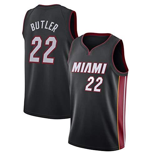 Rencai Jimmy Butler, Jersey # 22 del Baloncesto de los Hombres, Miami Heat Nueva Tela Alero sin Mangas de la Camisa de los Jerseys (Color : Black(B), Size : XXL)