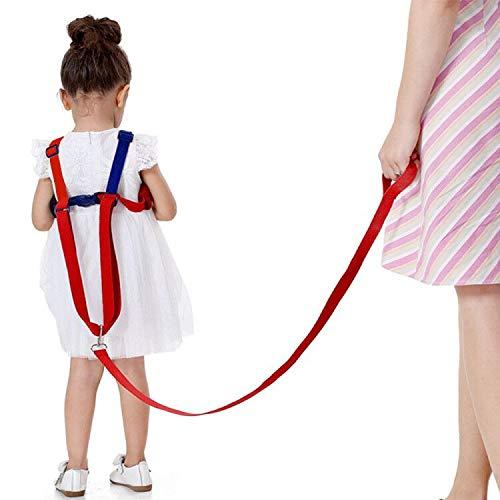 Suntapower Baby Antiverlust Gürtel,2 in 1 Kinder Walking Sicherheit Geschirr Handgelenk Leine Strap für 0-5 Jahre Kinder (Rot/Blau)