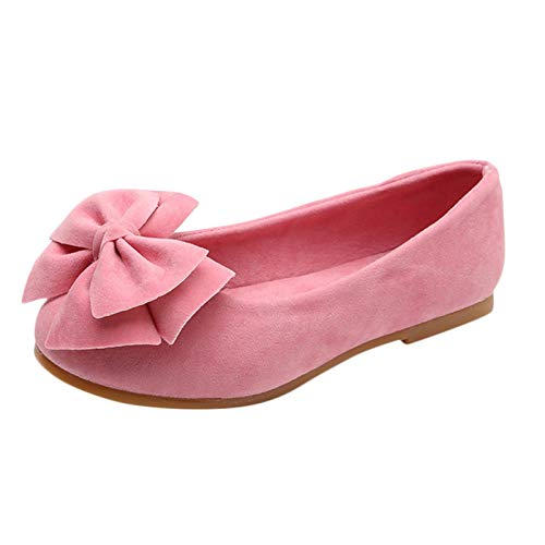 Kinder Baby Mädchen Kürbiserbsen Schuhe Tanzschuhe Prinzessin Schuhe Einzelschuhe Bowknot Student Single Soft Dance Flache Lofer, Rosa, 22 EU