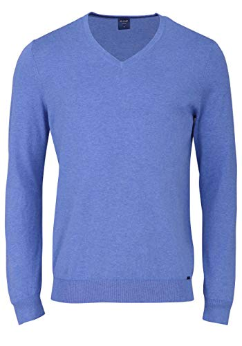 OLYMP Langarm Strick Pullover mit V-Ausschnitt himmelblau Größe M