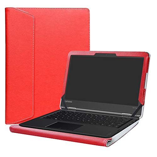Alapmk Diseñado Especialmente La Funda Protectora de Cuero de PU para 11.6' Lenovo Flex 11 CHROMEBOOK/Lenovo N23 Yoga Chromebook/Lenovo Flex 4 11 4-1130 Series Ordenador portátil,Rojo