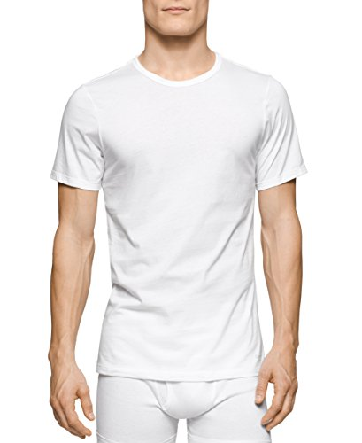 Calvin Klein Men's 3 Pack Cotton Classics Slim Fit Crew Neck T-Shirt, White, Large