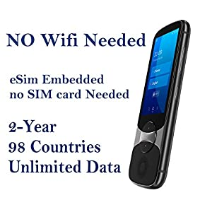 Jarvisen Language Translator Device with Unlimited 2-Year Global Data (No WiFi Need) 200+ Countries 95+% Accuracy Instant Real-time Voice Translation & Offline Translation w/Bluetooth & 4G/LTE (Grey) by Jarvisen