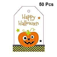 Hemoton 50枚 ハロウィングリーティングカード 詰め合わせ ハンギング カード カートゥーン パンプキン 垂直 グリーティングカード