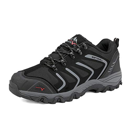 NORTIV 8 Men's Low Top Waterproof Hiking Shoes Outdoor Lightweight Backpacking Trekking Trails 160448-low Black Dark Grey Size 11 M US