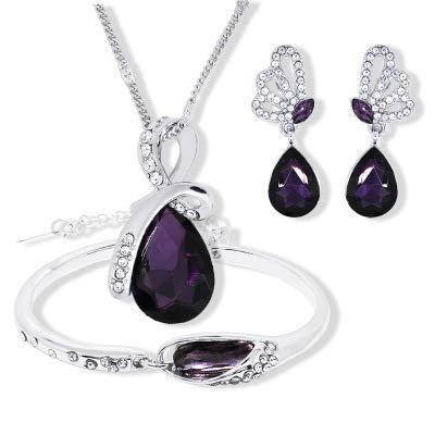 Los amantes del cristal del collar de la lágrima del ángel + pendientes + pulsera Conjunto de 3 piezas de cristal de la manera exquisita joyería,5