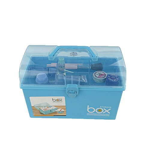 Pekky Small Plastic Medicine/Art Supply Craf Storage Box with Tray and Handle (Blue)