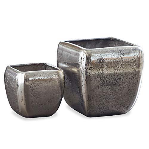 Loberon Vase 2er Set Kono, Aluminium, H/B/T ca. 12/12 / 12 cm, antiksilber